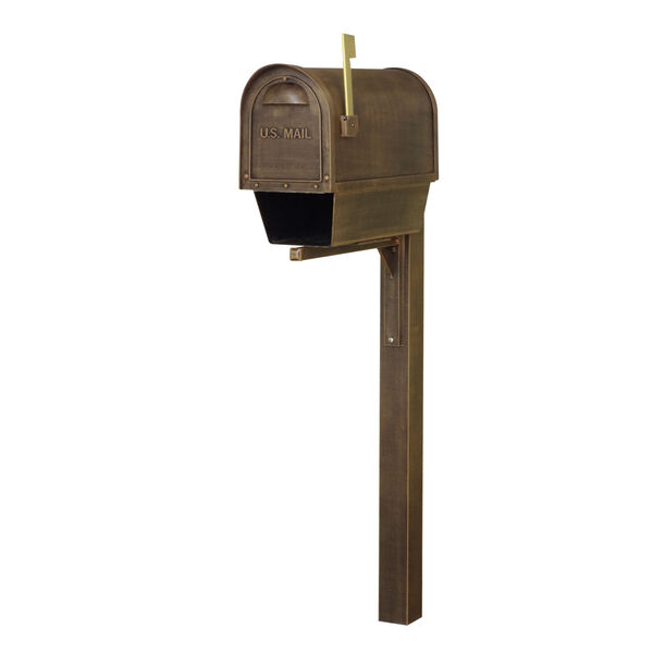 Classic Curbside Copper Mailbox with Newspaper Tube and Wellington Mailbox Post, image 2