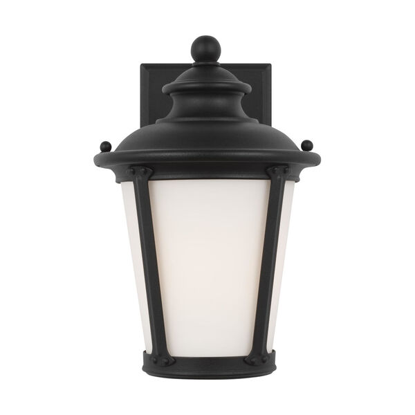 Cape May Black Seven-Inch One-Light Outdoor Wall Sconce with Etched White Inside Shade, image 1