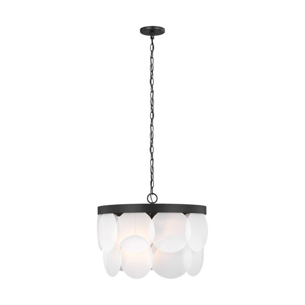Mellita Midnight Black Six-Light Pendant with Satin Etched Shade Energy Star, image 1