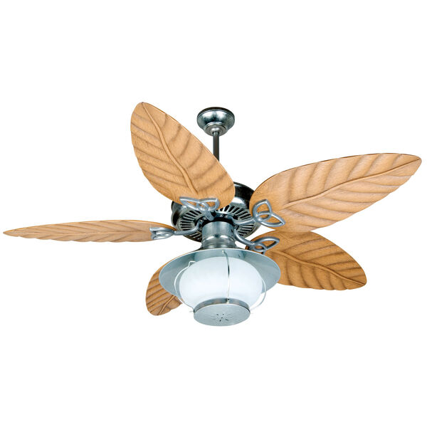 Outdoor Patio Fan Galvanized Ceiling Fan with 54-Inch Tropic Isle Light Oak Blades and Bowl Light Kit, image 1