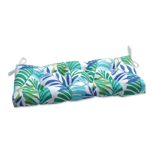 Islamorada Blue and Green 44-Inch Tufted Bench Cushion, image 1