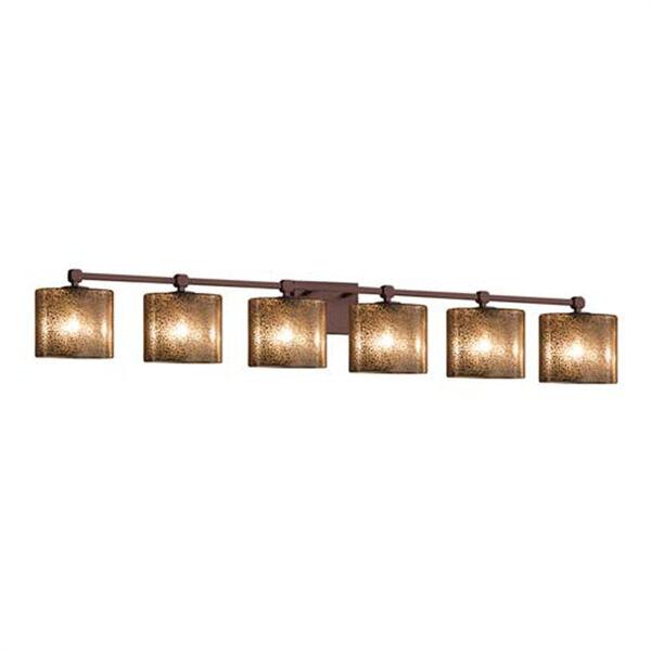 Fusion - Tetra Polished Chrome Six-Light LED Bath Bar with Oval Mercury Glass Shade, image 1