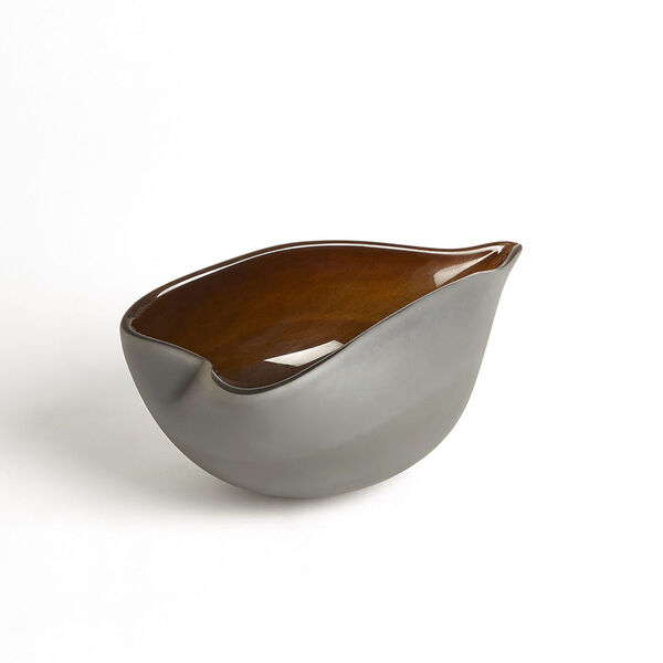 Frosted Gray and Amber 7-Inch Decorative Bowl, image 5