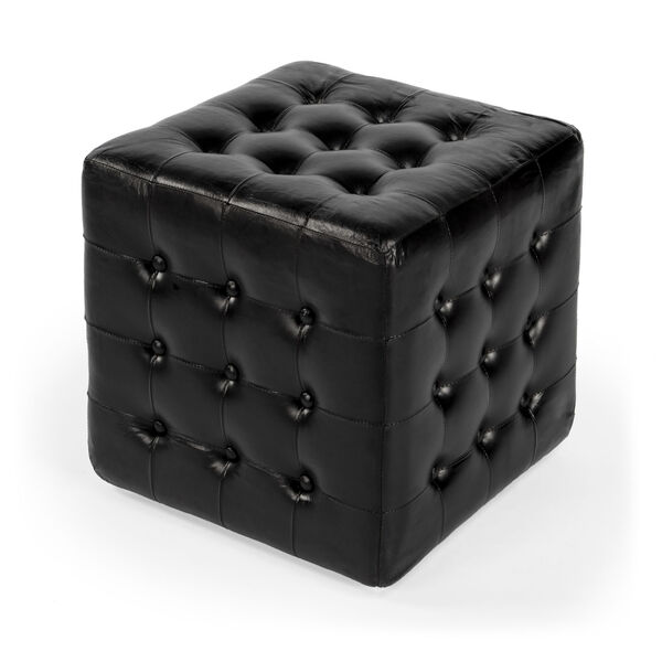 Accent Seating Leon Black Leather Ottoman, image 1