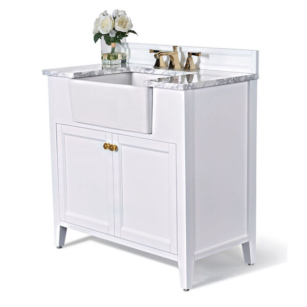 Adeline White 36-Inch Vanity Console with Farmhouse Sink, image 1