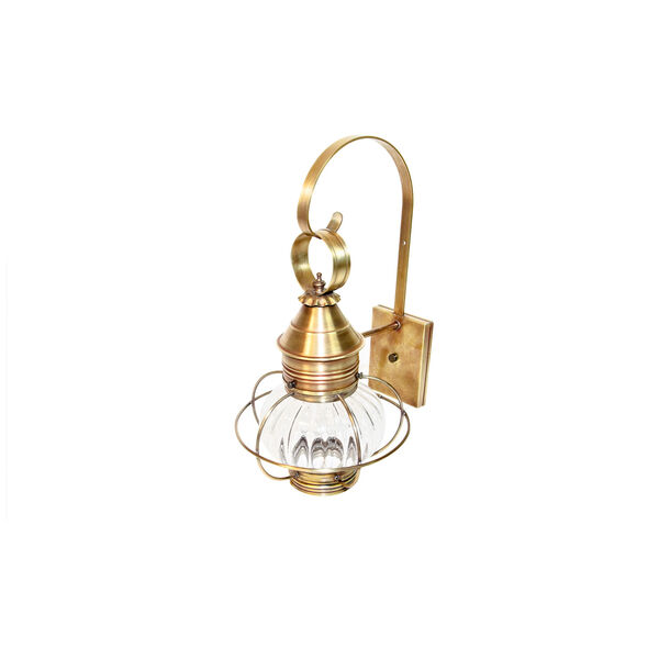 Onion Antique Brass One-Light 10-Inch Outdoor Wall Mount with Optic Glass, image 1