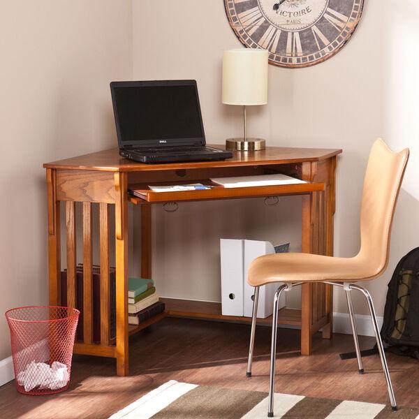 Oak Corner Computer Desk, image 3