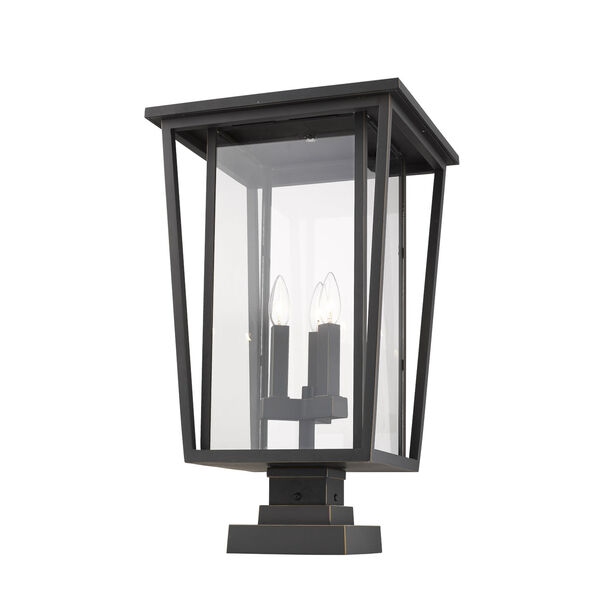 Seoul Oil Rubbed Bronze Three-Light Outdoor Pier Mounted Fixture With Transparent Glass, image 1