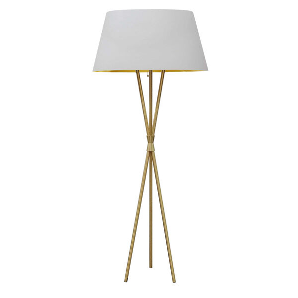 Gabriela Aged Brass with White One-Light Floor Lamp, image 1