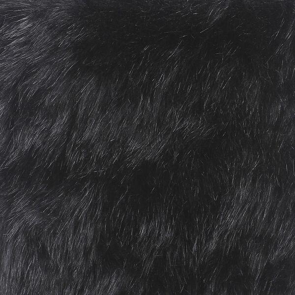 Faux Fur Square Ottoman - Black, image 6