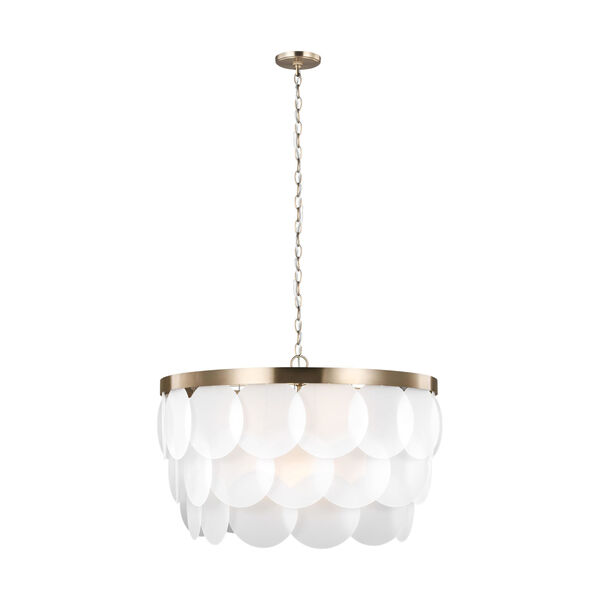 Mellita Satin Brass Eight-Light Pendant with Satin Etched Shade Energy Star, image 1