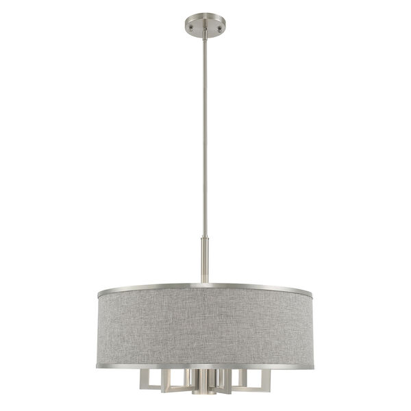 Park Ridge Brushed Nickel 24-Inch Seven-Light Pendant Chandelier with Hand Crafted Gray Hardback Shade, image 1