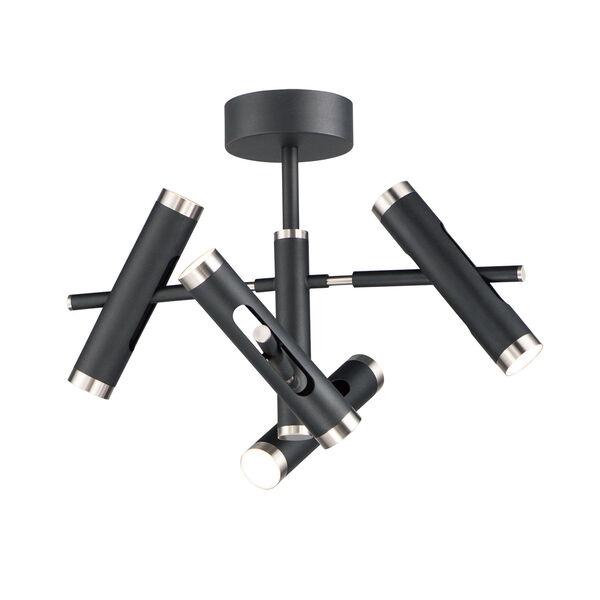 Black and Satin Nickel Eight-Light LED Mini Pendant, image 1