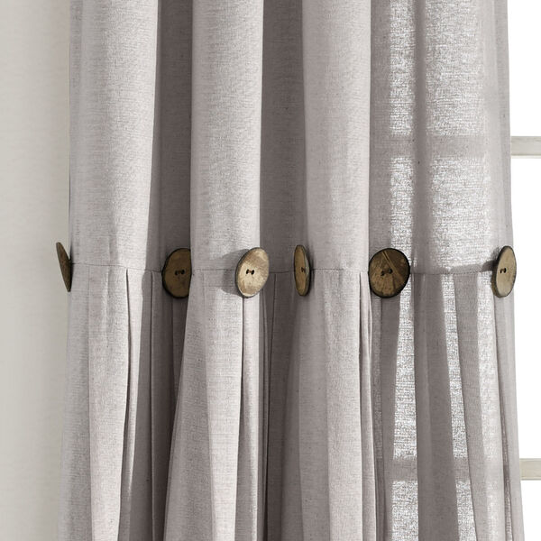 Linen Button Gray 40 x 95 In. Single Window Curtain Panel, image 3