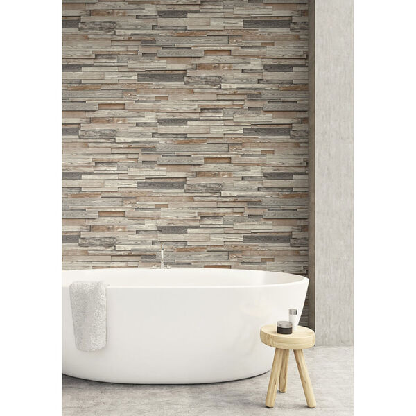 NextWall Brown Reclaimed Wood Plank Peel and Stick Wallpaper, image 3
