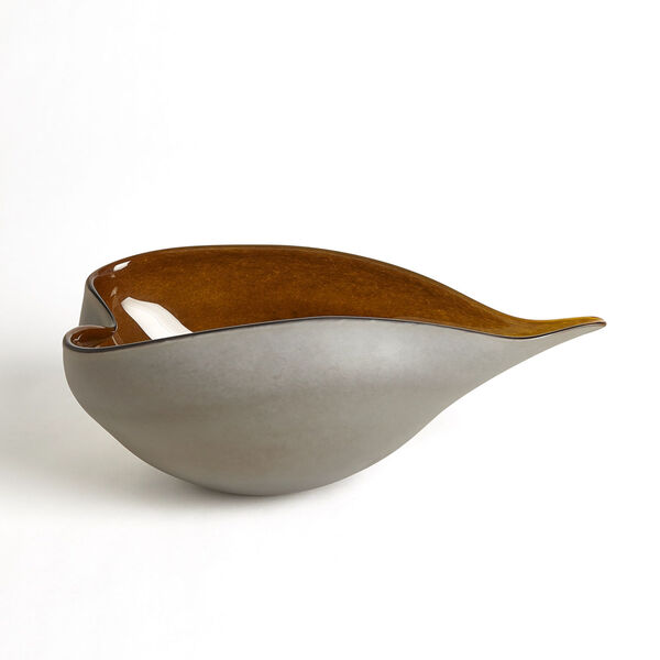 Frosted Gray and Amber 10-Inch Decorative Bowl, image 3