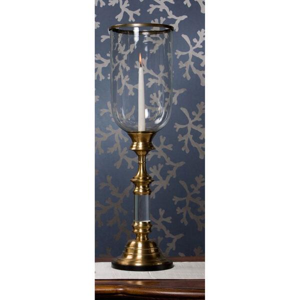 Antique Brass Hurricane with Lucite Stem, image 2