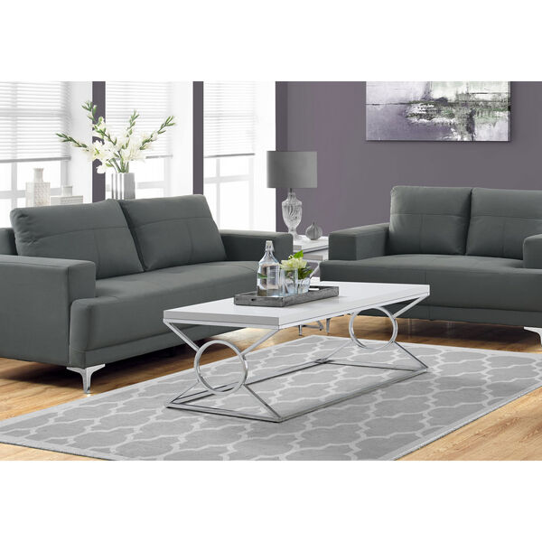 Glossy White and Chrome 22-Inch Coffee Table, image 2