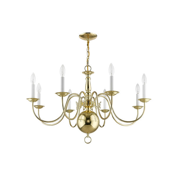 Williamsburgh Polished Brass 32-Inch Eight-Light Chandelier, image 2