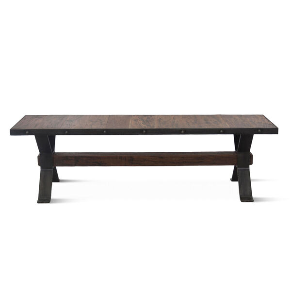 Paxton Weathered Walnut and Gray Zinc Dining Bench, image 1