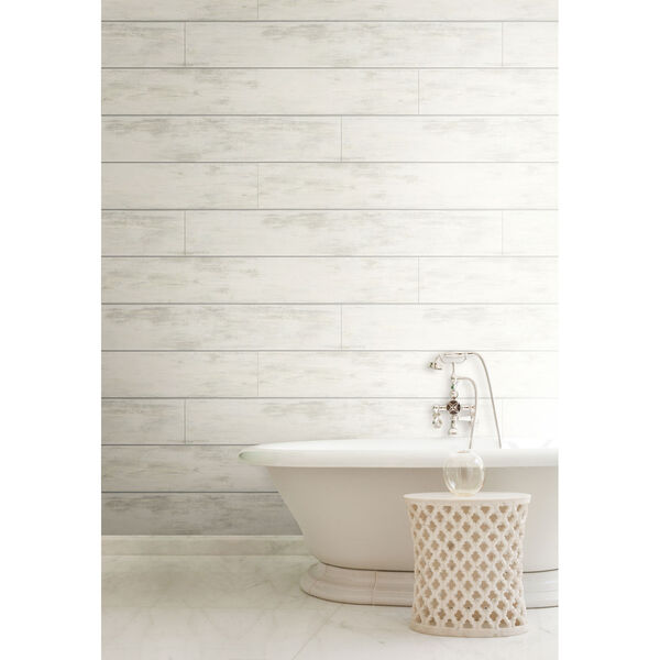 Shiplap White and Gray Removable Wallpaper, image 1