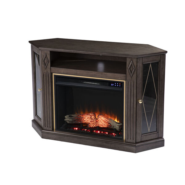 Austindale Light Brown Corner Electric Fireplace with Media Storage, image 5