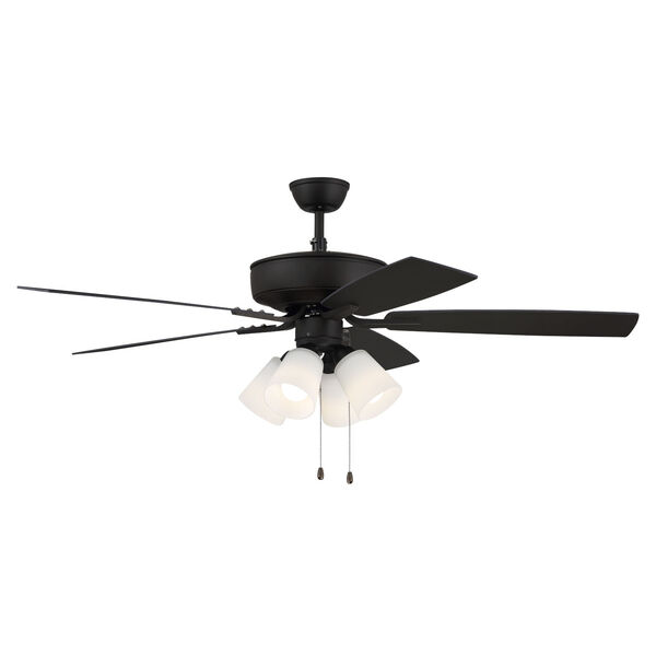 Pro Plus Espresso 52-Inch Four-Light Ceiling Fan with White Frost Bell Shade, image 3