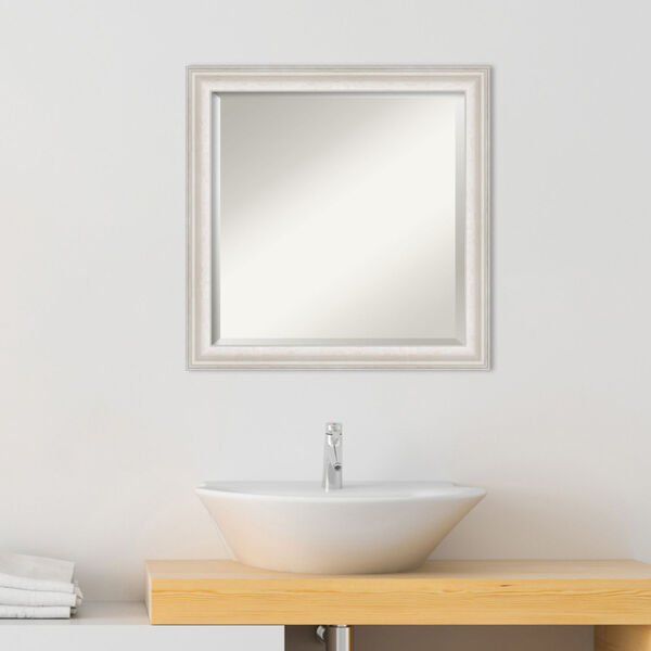 Trio White and Silver 24W X 24H-Inch Bathroom Vanity Wall Mirror, image 3
