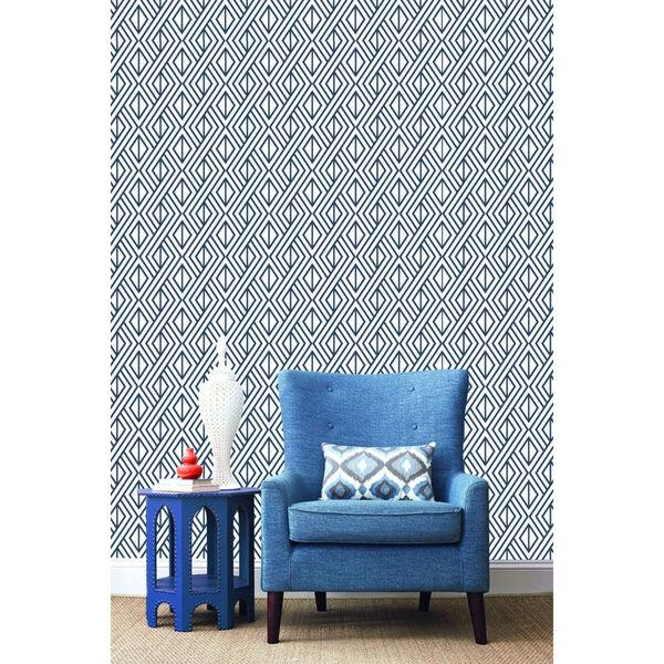 NextWall Navy Diamond Geometric Peel and Stick Wallpaper, image 1