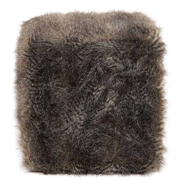 Jayna Charcoal Brown Fur Ottoman, image 3