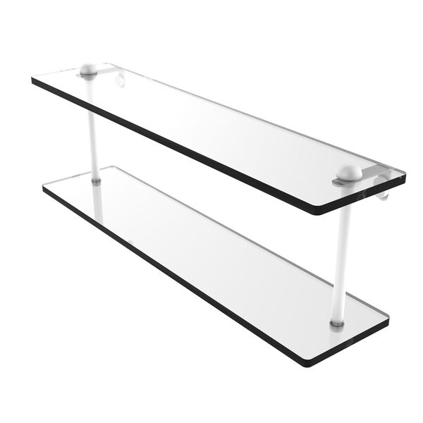 Matte White 22-Inch Two Tiered Glass Shelf, image 1