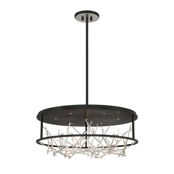 Aerie Black and Silver Seven-Light Round LED Chandelier, image 1
