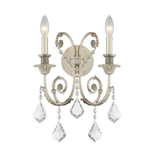Regis Olde Silver Two-Light Wall Sconce with Hand Polished Crystal, image 1
