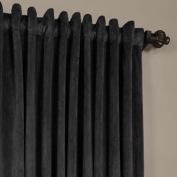 Gunmetal Gray 108 x 100-Inch Doublewide Blackout Velvet Curtain, image 4