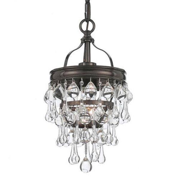 Hopewell Bronze One-Light Mini-Pendant with Clear Crystal, image 1