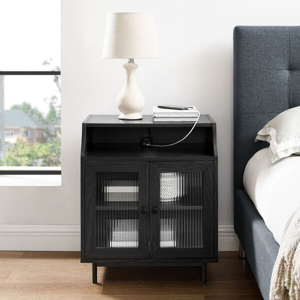 Graphite Fluted Glass Two Door Nightstand with USB, image 2