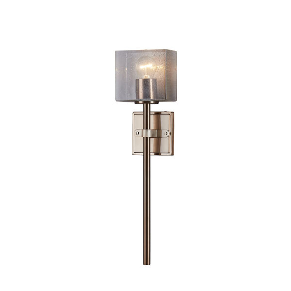Spruce Brushed Brass ADA One-Light Wall Sconce with Seeded Glass Shade, image 1