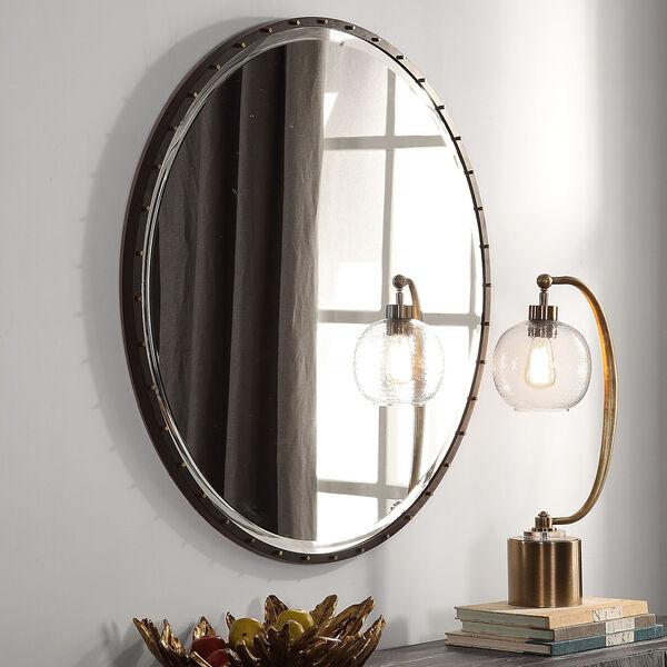 Benedo Rustic Black and Gold Round Mirror, image 1