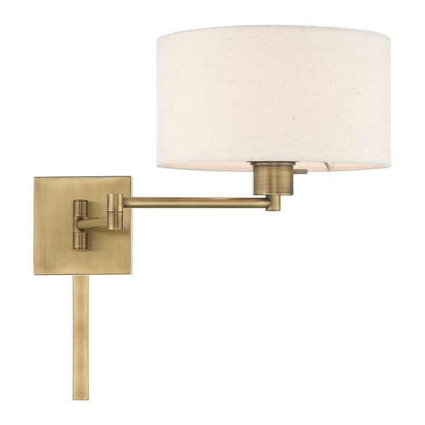 Swing Arm Wall Lamps Antique Brass 11-Inch One-Light Swing Arm Wall Lamp with Hand Crafted Oatmeal Hardback Shade, image 5