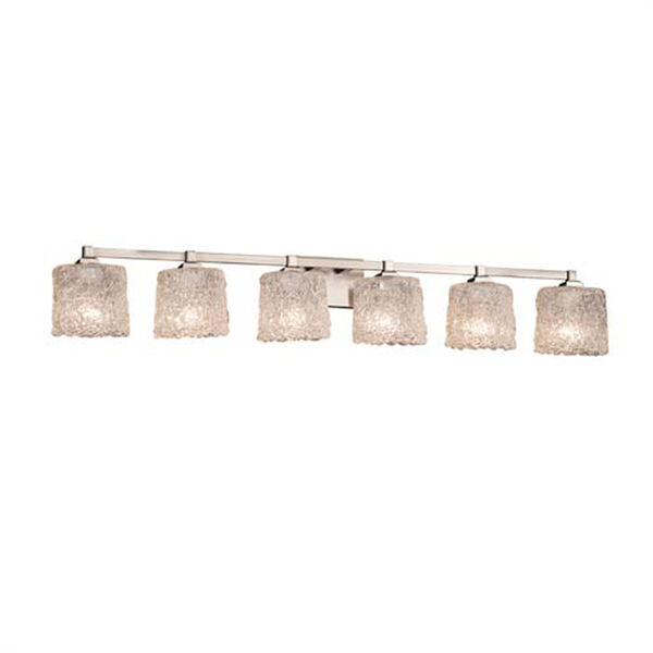 Veneto Luce - Regency Brushed Nickel Six-Light LED Bath Bar with Oval Lace Shade, image 1