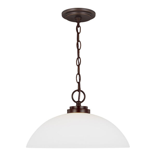 Oslo Bronze One-Light Pendant with Etched White Inside Shade, image 1