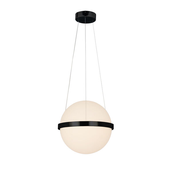 Centric Matte Black LED Pendant with Opal Acrylic Shade, image 1