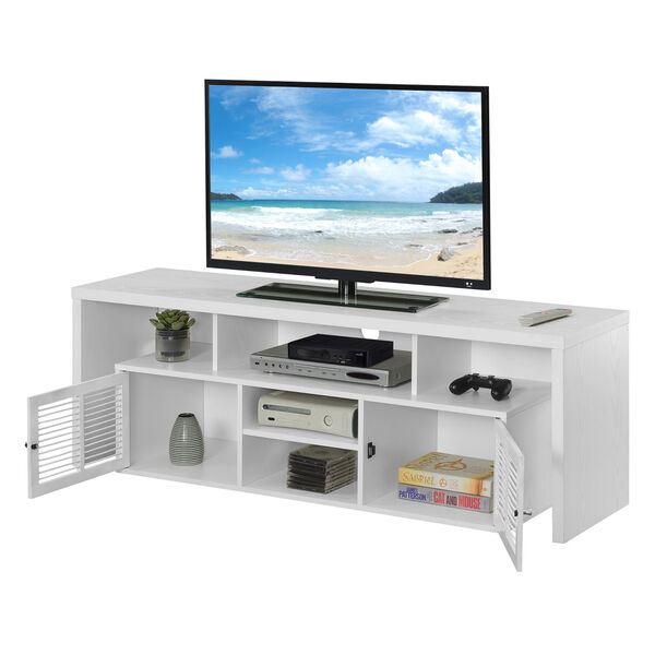Lexington White 60-Inch TV Stand with Storage Cabinets and Shelves, image 4