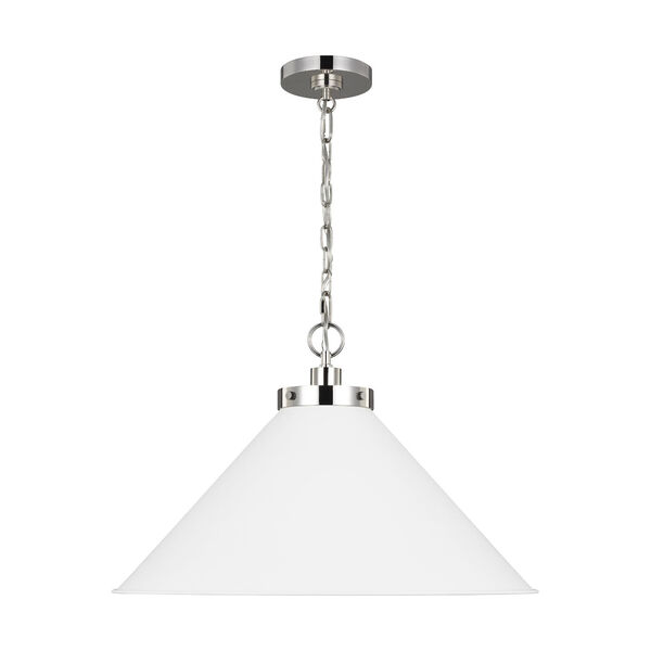 Wellfleet Matte White and Silver 24-Inch One-Light Pendant, image 1