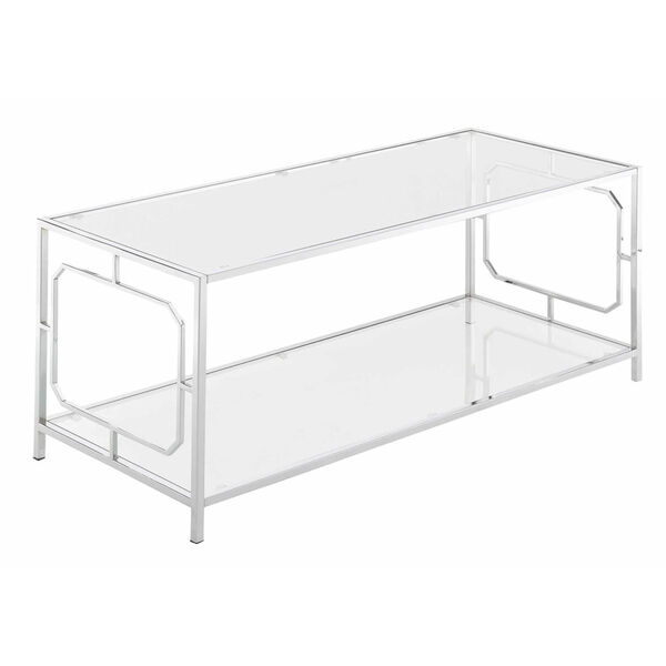 Omega Chrome Coffee Table with Clear Glass, image 1