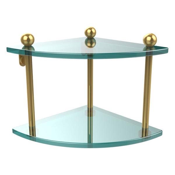 Polished Brass Double Corner Glass Shelf, image 1