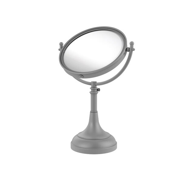 Matte Gray Eight-Inch Height Adjustable Vanity Top Make-Up Mirror 4X Magnification, image 1