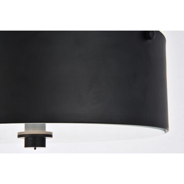 Hazen Flat Black and Frosted White Two-Light Flush Mount, image 6
