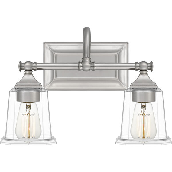 Nicholas Brushed Nickel Two-Light Bath Vanity with Transparent Glass, image 1