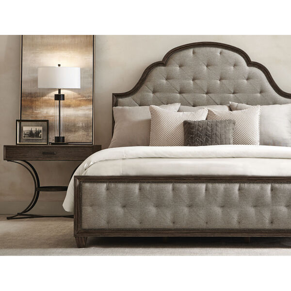 Taupe Canyon Ridge Upholstered Tufted Bed, image 4